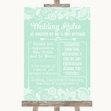 Green Burlap & Lace Rules Of The Wedding Customised Wedding Sign