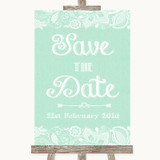 Green Burlap & Lace Save The Date Customised Wedding Sign