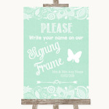 Green Burlap & Lace Signing Frame Guestbook Customised Wedding Sign