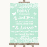 Green Burlap & Lace Today I Marry My Best Friend Customised Wedding Sign