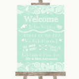 Green Burlap & Lace Welcome Order Of The Day Customised Wedding Sign