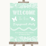 Green Burlap & Lace Welcome To Our Engagement Party Customised Wedding Sign