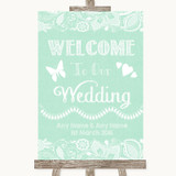 Green Burlap & Lace Welcome To Our Wedding Customised Wedding Sign