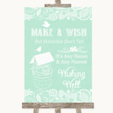 Green Burlap & Lace Wishing Well Message Customised Wedding Sign