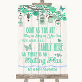 Green Rustic Wood All Family No Seating Plan Customised Wedding Sign