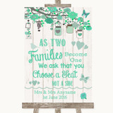 Green Rustic Wood As Families Become One Seating Plan Customised Wedding Sign