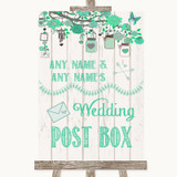 Green Rustic Wood Card Post Box Customised Wedding Sign