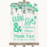 Green Rustic Wood Cards & Gifts Table Customised Wedding Sign