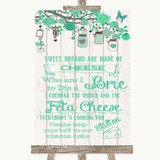 Green Rustic Wood Cheesecake Cheese Song Customised Wedding Sign