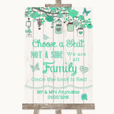 Green Rustic Wood Choose A Seat We Are All Family Customised Wedding Sign