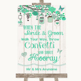 Green Rustic Wood Confetti Customised Wedding Sign
