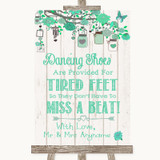 Green Rustic Wood Dancing Shoes Flip-Flop Tired Feet Customised Wedding Sign