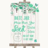 Green Rustic Wood Date Jar Guestbook Customised Wedding Sign