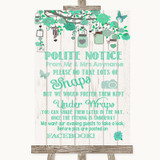 Green Rustic Wood Don't Post Photos Facebook Customised Wedding Sign