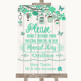 Green Rustic Wood Don't Post Photos Online Social Media Wedding Sign