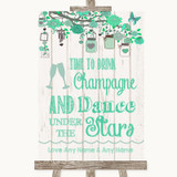 Green Rustic Wood Drink Champagne Dance Stars Customised Wedding Sign
