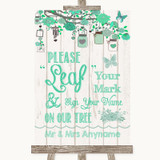 Green Rustic Wood Fingerprint Tree Instructions Customised Wedding Sign