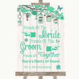 Green Rustic Wood Friends Of The Bride Groom Seating Customised Wedding Sign