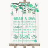 Green Rustic Wood Grab A Bag Candy Buffet Cart Sweets Customised Wedding Sign