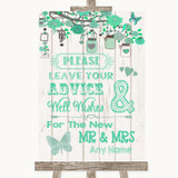 Green Rustic Wood Guestbook Advice & Wishes Mr & Mrs Customised Wedding Sign