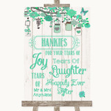 Green Rustic Wood Hankies And Tissues Customised Wedding Sign