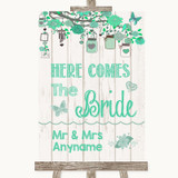 Green Rustic Wood Here Comes Bride Aisle Sign Customised Wedding Sign
