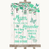 Green Rustic Wood I Love You Message For Mum Customised Wedding Sign