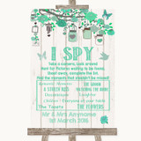 Green Rustic Wood I Spy Disposable Camera Customised Wedding Sign