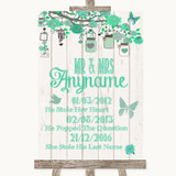Green Rustic Wood Important Special Dates Customised Wedding Sign