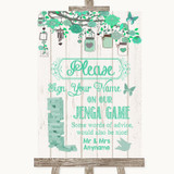 Green Rustic Wood Jenga Guest Book Customised Wedding Sign