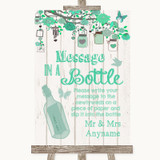 Green Rustic Wood Message In A Bottle Customised Wedding Sign
