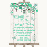 Green Rustic Wood No Phone Camera Unplugged Customised Wedding Sign