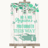 Green Rustic Wood Photobooth This Way Left Customised Wedding Sign