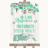 Green Rustic Wood Photobooth This Way Right Customised Wedding Sign