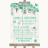 Green Rustic Wood Pick A Prop Photobooth Customised Wedding Sign