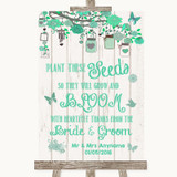 Green Rustic Wood Plant Seeds Favours Customised Wedding Sign