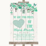 Green Rustic Wood Puzzle Piece Guest Book Customised Wedding Sign