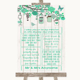 Green Rustic Wood Romantic Vows Customised Wedding Sign