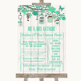 Green Rustic Wood Rules Of The Dance Floor Customised Wedding Sign