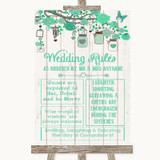 Green Rustic Wood Rules Of The Wedding Customised Wedding Sign