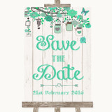 Green Rustic Wood Save The Date Customised Wedding Sign