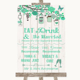 Green Rustic Wood Signature Favourite Drinks Customised Wedding Sign