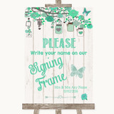 Green Rustic Wood Signing Frame Guestbook Customised Wedding Sign