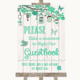 Green Rustic Wood Take A Moment To Sign Our Guest Book Customised Wedding Sign