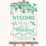 Green Rustic Wood Welcome To Our Wedding Customised Wedding Sign