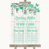 Green Rustic Wood Who's Who Leading Roles Customised Wedding Sign