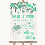 Green Rustic Wood Wishing Well Message Customised Wedding Sign
