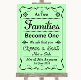 Green As Families Become One Seating Plan Customised Wedding Sign