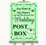 Green Card Post Box Customised Wedding Sign
