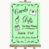 Green Cards & Gifts Table Customised Wedding Sign